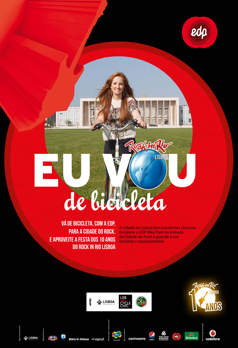 "Campanha ""EU VOU de Bicicleta"" Rock in Rio-Lisboa / EDP invade Lisboa"
