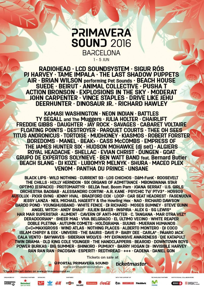 Divulgado o cartaz completo do Primavera Sound Barcelona 2016