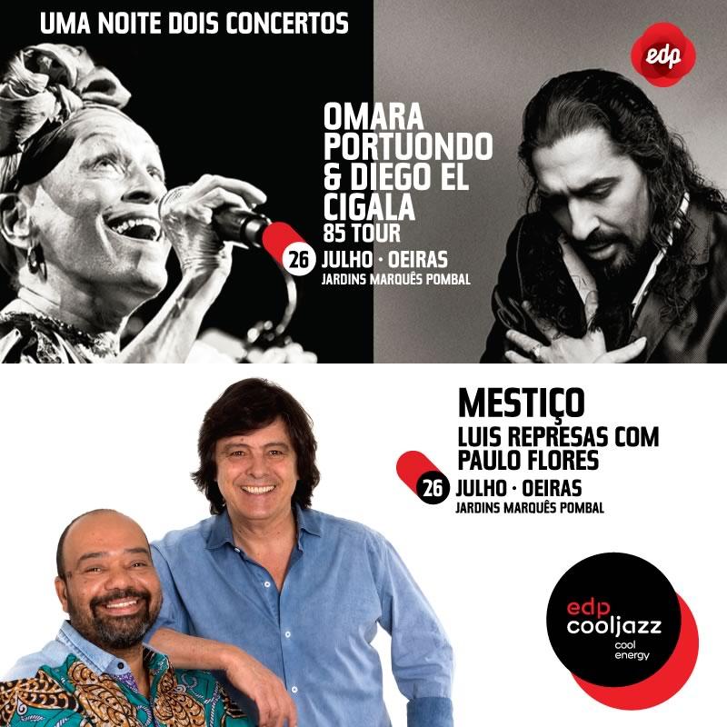 Omara Portuondo & Diego el Cigala + Luís Represas com Paulo Flores no edpcooljazz a 26 de Julho