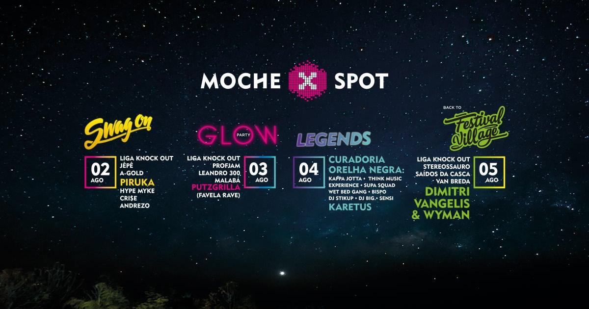 Sudoeste MOCHE X Spot com Dimitri Vangelis & Wyman, Karetus, Piruka e muitos mais