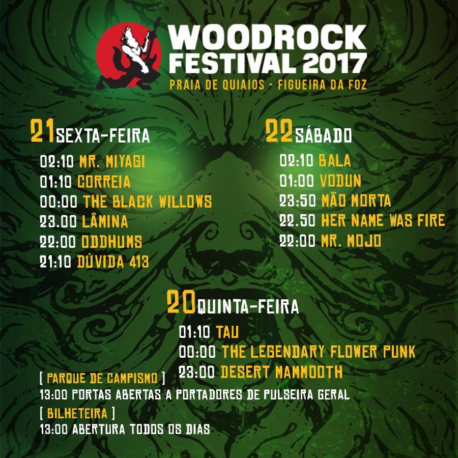 Os horários do Woodrock já estão disponíveis
