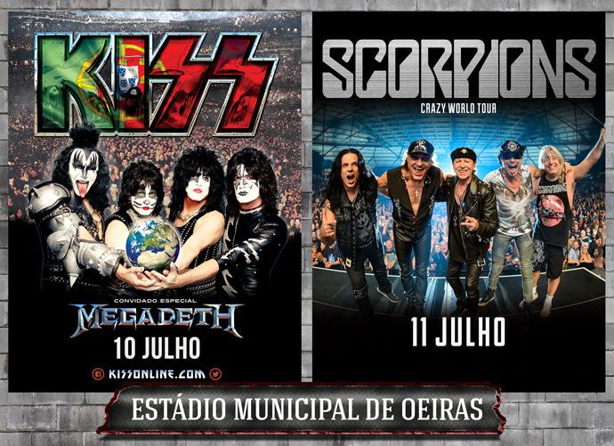 Kiss, Scorpions e Megadeth a 10 e 11 de Julho, em Oeiras