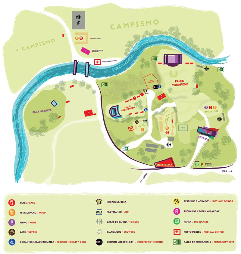 Vodafone Paredes de Coura 2018 - Mapa do recinto